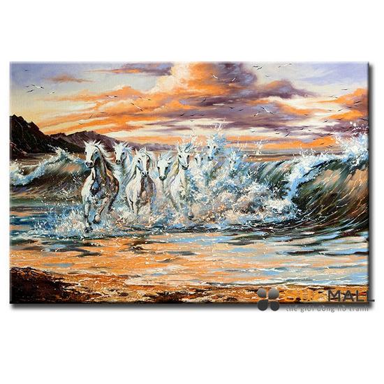 Tranh Treo Tường Canvas Suemall CV140872 - Bạch Mã Và Sóng Biển