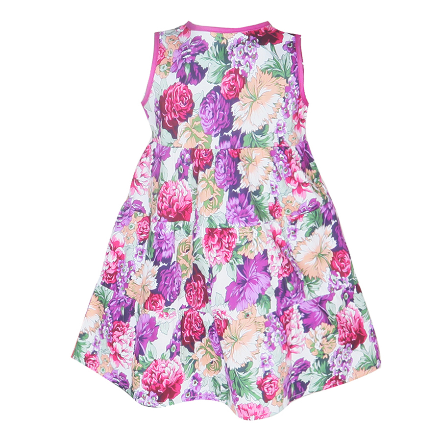 Đầm Sát Nách Hoa Tím Hồng Cuckeo Kids HC721