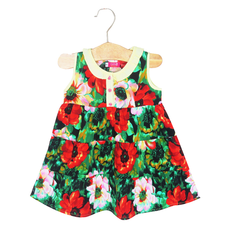 Đầm Họa Tiết Hoa Đỏ Xanh Cuckeo Kids HC732 Size 4