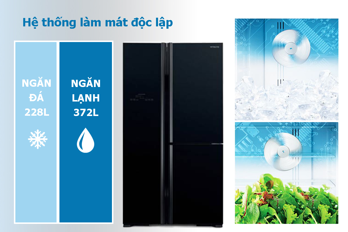 Tủ Lạnh Inverter Hitachi R-M700PGV2-GBK (600L) - Đen