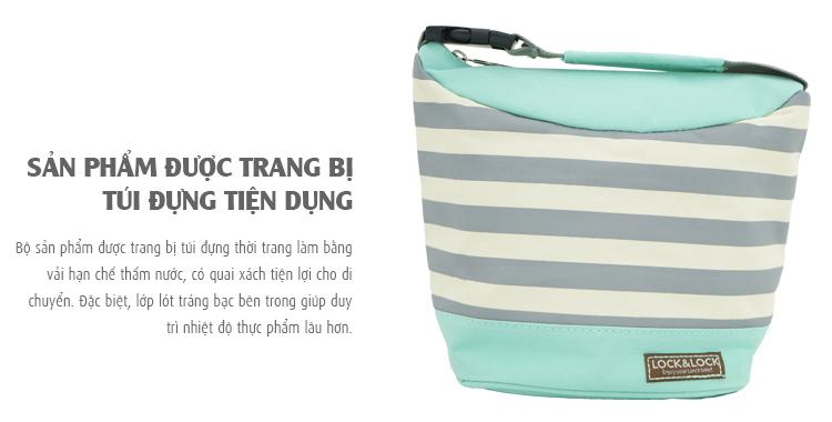 Bộ Túi Hộp Cơm Lock&Lock Stripe Pattern Bag (470 - 470 - 300 ml)