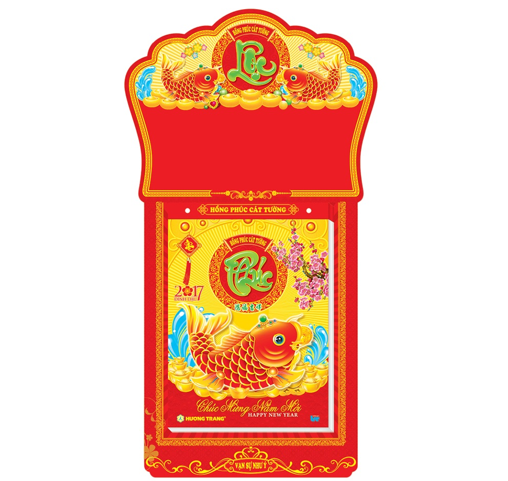Lịch Bloc Hương Trang Siêu Đại 2017 - Hồng Phúc Cát Tường Phú Quý Song Ngư - HT9 (20 x 28)