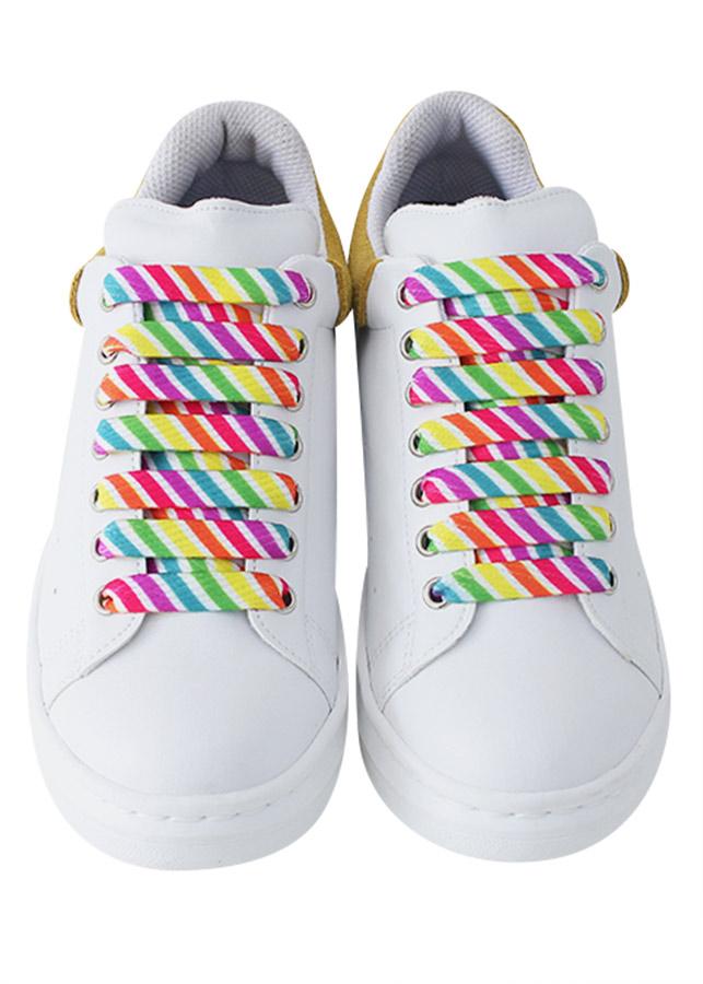 Giày Sneaker Nữ MUST Korea I01 - WY - Trắng Phối Vàng