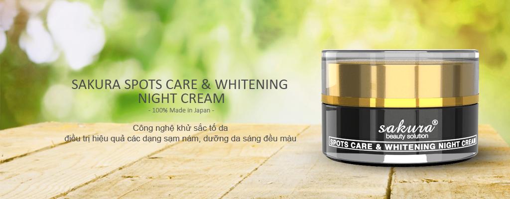 Kem Dưỡng Trắng Da Trị Nám Ban Đêm Sakura Spot Care & Whitening Night Cream (30g)