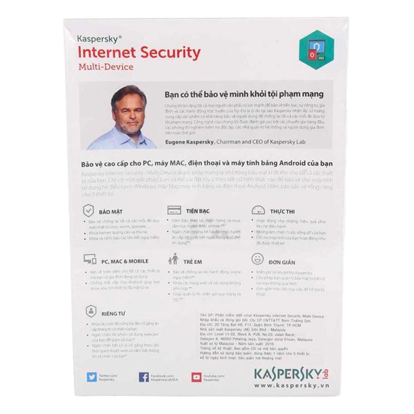 Kaspersky Internet Security Cho 5 Máy Tính - KIS5U - Hàng chính hãng