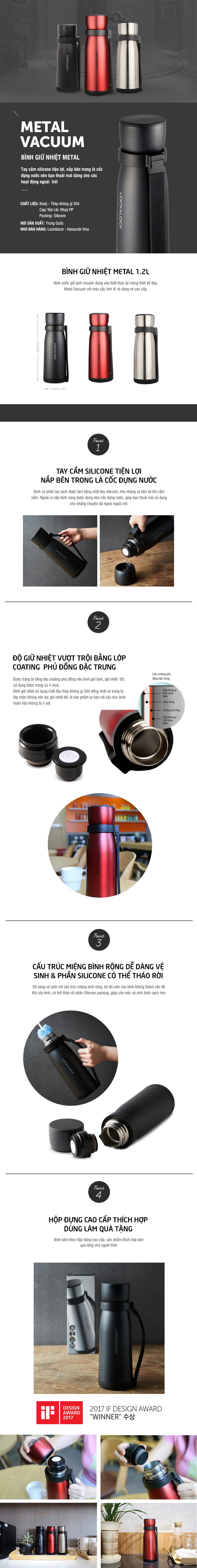 Bình Giữ Nhiệt Metal Motor Hot Tank Lock&Lock LHC1416STS (1200ml) - Bạc