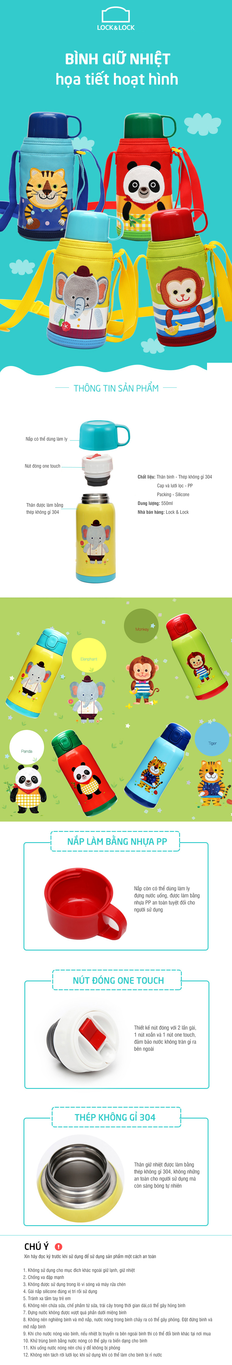 Bình Giữ Nhiệt Cartoon Kids Vacuum Bottle Lock&Lock LHC1435 (550ml)