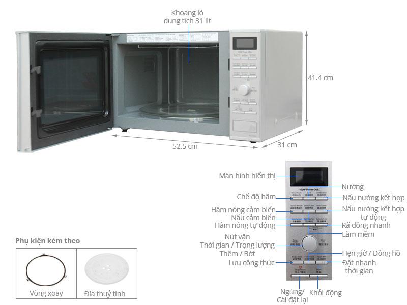 Lò Vi Sóng Có Nướng Điện Tử Inverter Panasonic PALM-NN-GD692SYUE - 31L - Hàng chính hãng