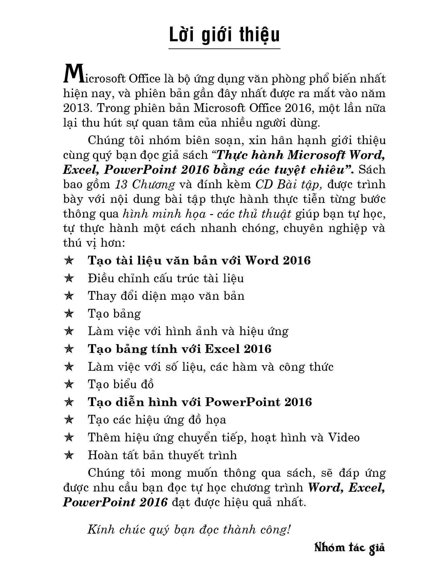 Thực Hành Microsoft Word - Excel - Powerpoint 2016 Bằng Các Tuyệt Chiêu (Kèm CD)