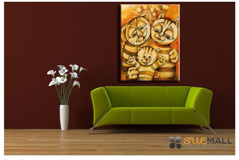 Tranh Treo Tường Canvas Suemall CV140878 - Gia Đình Mèo