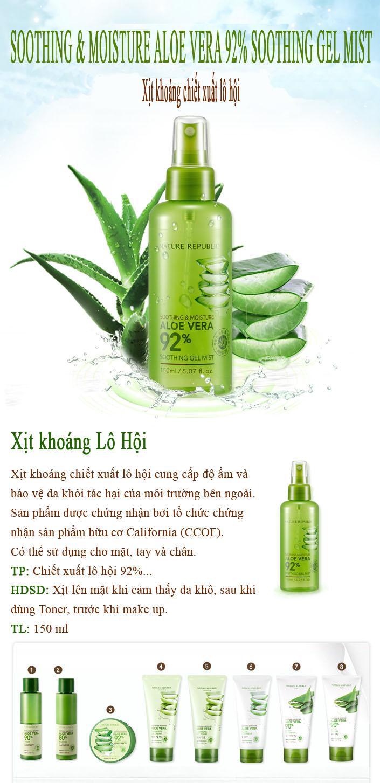 Nature Republic Aloe Vera 92 Soothing Gel Mist Nm7468