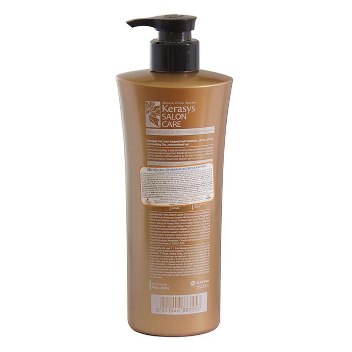 Combo Dầu Gội Cao Cấp Cho Tóc Hư Tổn Kerasys Salon Care Nutritive Ampoule Shampoo (600ml) + Dầu Xả Cao Cấp Cho Tóc Hư Tổn Kerasys Salon Care Nutritive Ampoule Conditioner (600ml)