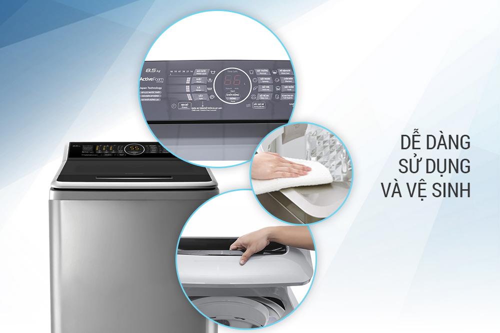 Máy Giặt Cửa Trên Panasonic NA-F85A4GRV (8.5kg) - Xám