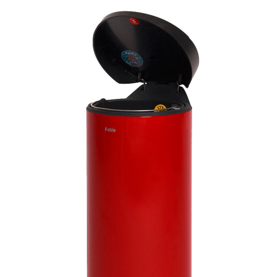 Thùng rác inox FITIS đạp tròn lớn RPL1-906 - đỏ - 15L