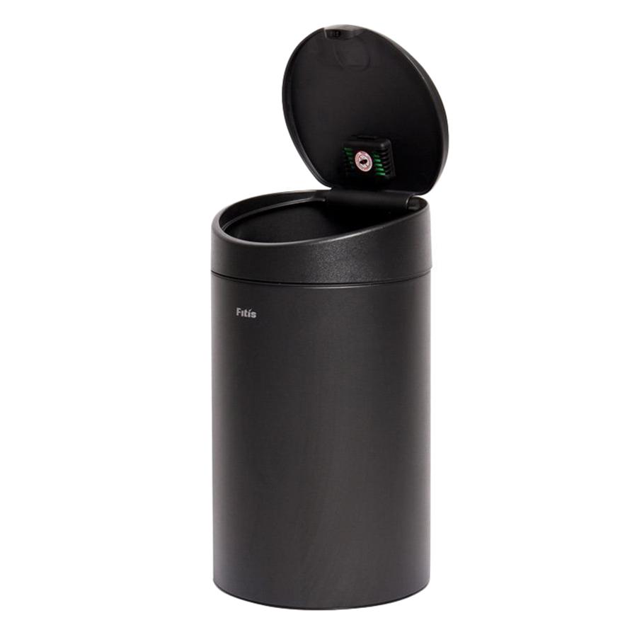 Thùng rác inox FITIS nhấn tròn nhỏ RTS1-903 - đen - 12L