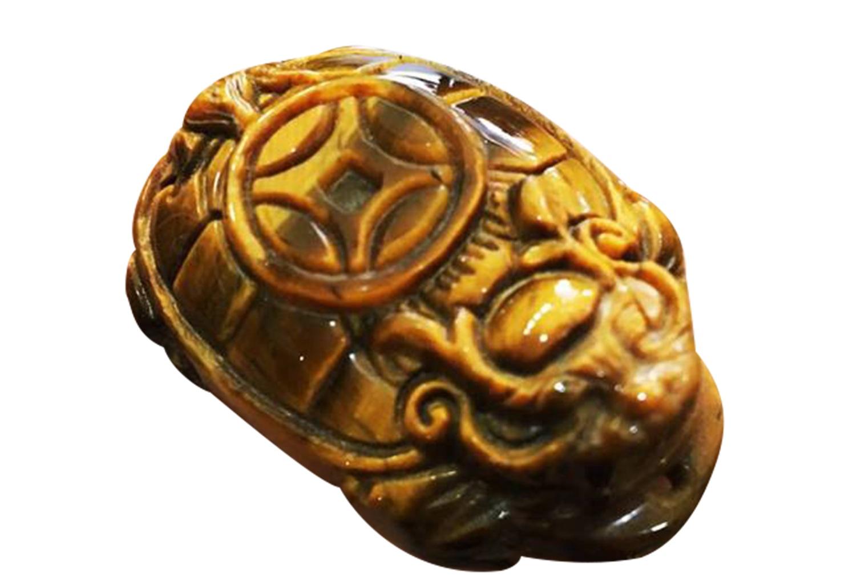 Trang Sức Phong Thủy Phúc An - Long Quy (Rùa Đầu Rồng) Đá Mắt Hổ