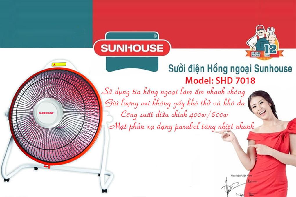 Quạt Sưởi Điện Halogen Sunhouse SHD7018