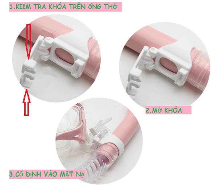 Bộ Ống Thở Ngăn Nước - Mắt Kính Cường Lực Snorkel-Set-Pink - Hồng