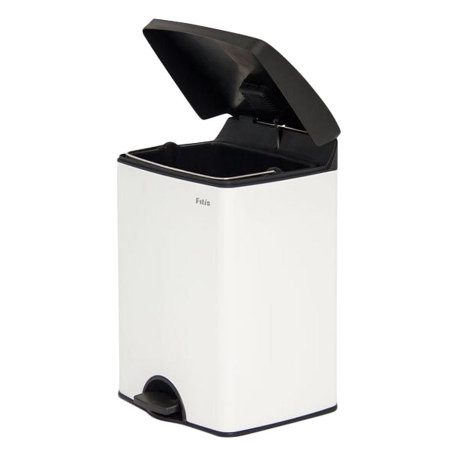 Thùng rác inox FITIS đạp vuông nhỏ SPS1-904 - trắng - 15L