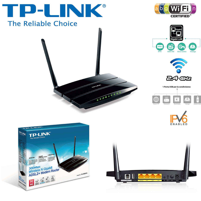 TP-LINK TD-W8970 - Router Modem ADSL2+ Gigabit Chuẩn N Tốc Độ 300Mbps
