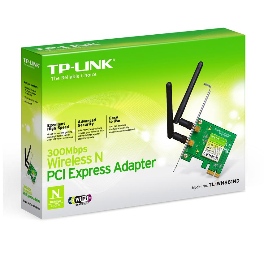Bộ Chuyển Đổi Không Dây TP-Link TL-WN881ND PCI Express Chuẩn N 300Mbps - Hàng Chính Hãng