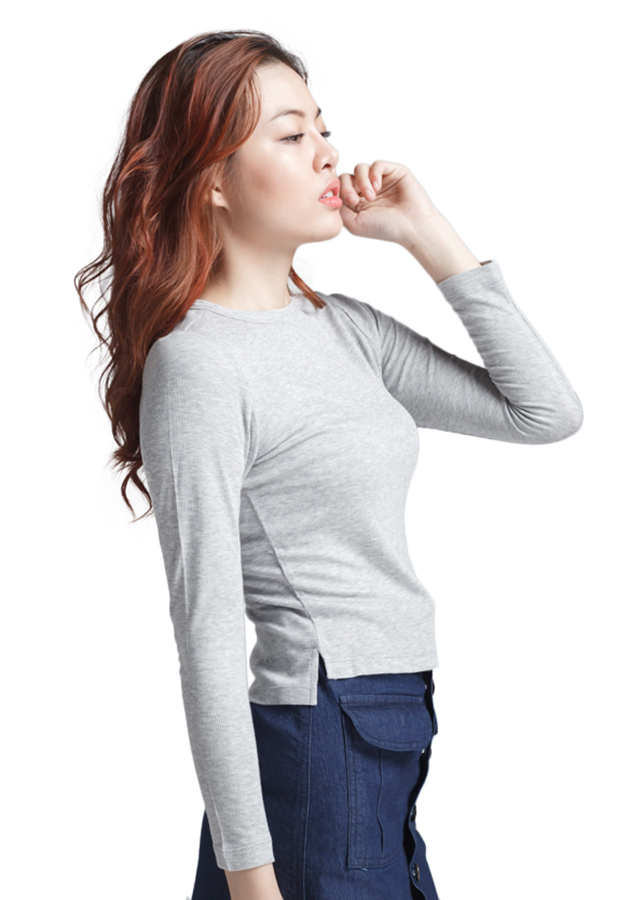 Áo Thun Body Xẻ Tà Labelle TN15-2 - Xám Nhạt