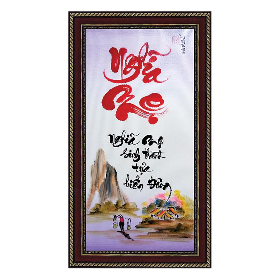 Tranh thư pháp Chữ Nghĩa Mẹ (38 x 68 cm) Thế Giới Tranh Đẹp