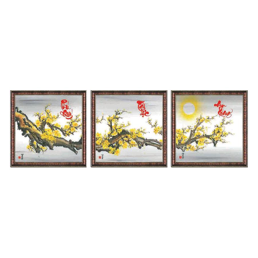 Tranh Thư Pháp bộ 3 PHÚ QUÝ- TÀI LỘC- AN KHANG (46 x 46 cm) Thế Giới Tranh Đẹp