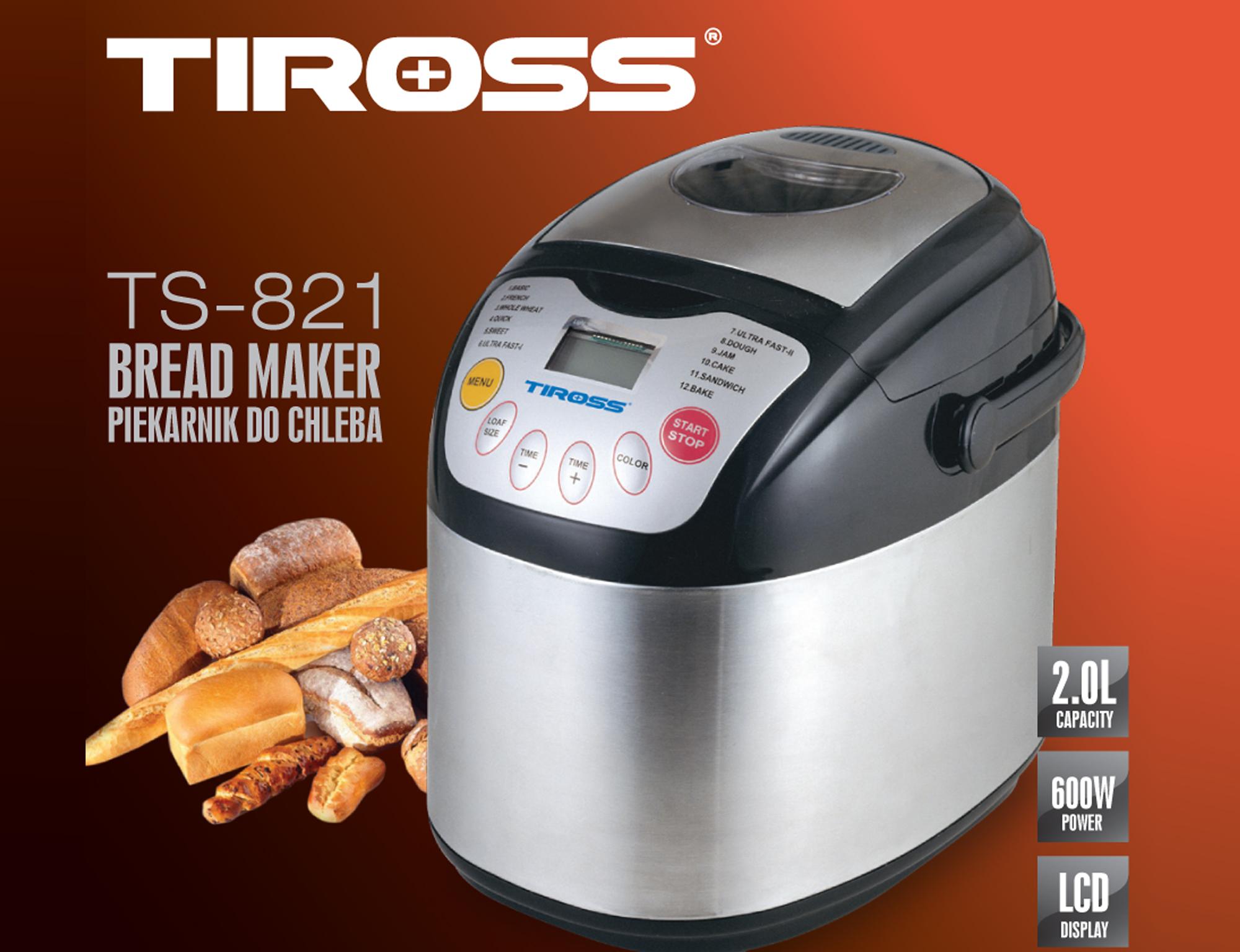 Máy Làm Bánh Mỳ Tiross 12 Chức Năng TS821