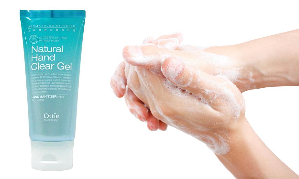 Gel Rửa Tay Diệt Khẩn Ottie Natural Hand Clear Gel - 1501 (80ml)