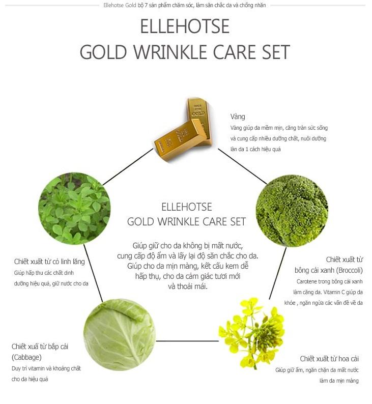 Bộ 7 Sản Phẩm Chăm Sóc Da Ellehotse Gold Wrinkle Care Set