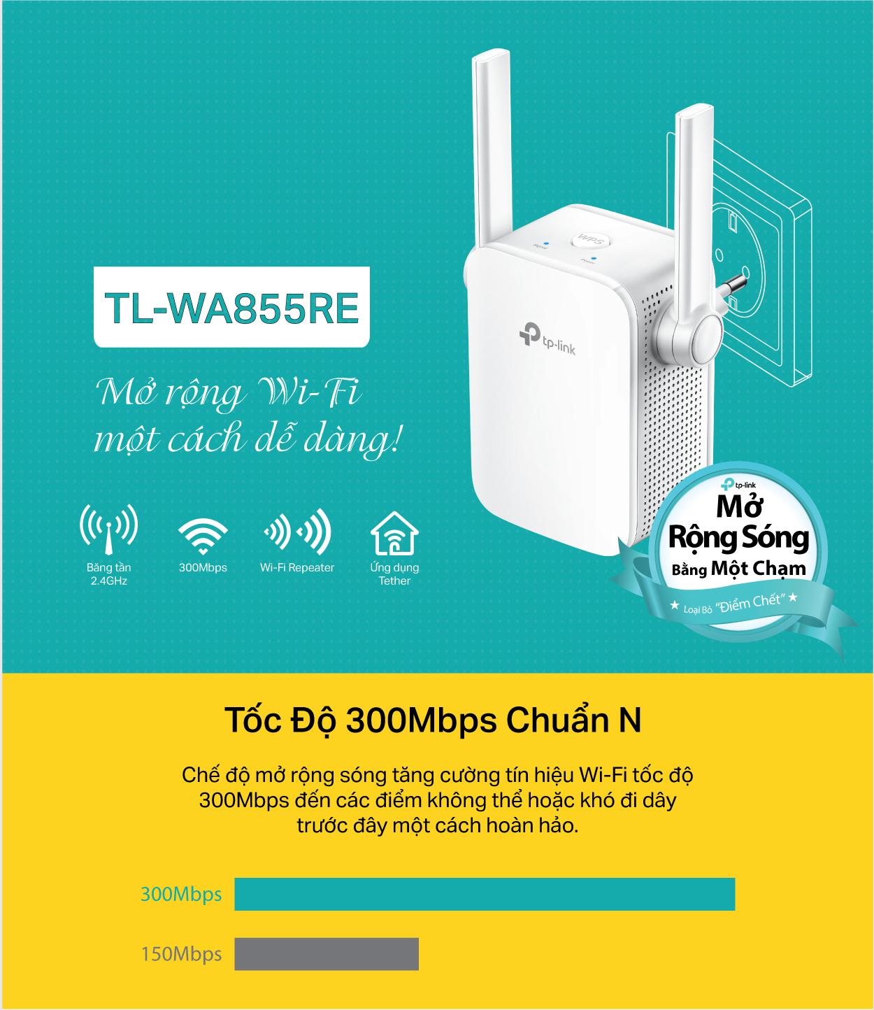 TP-Link  TL-WA855RE -  Bộ Mở Rộng Sóng Không Dây Gắn Tường Chuẩn N 300Mbps
