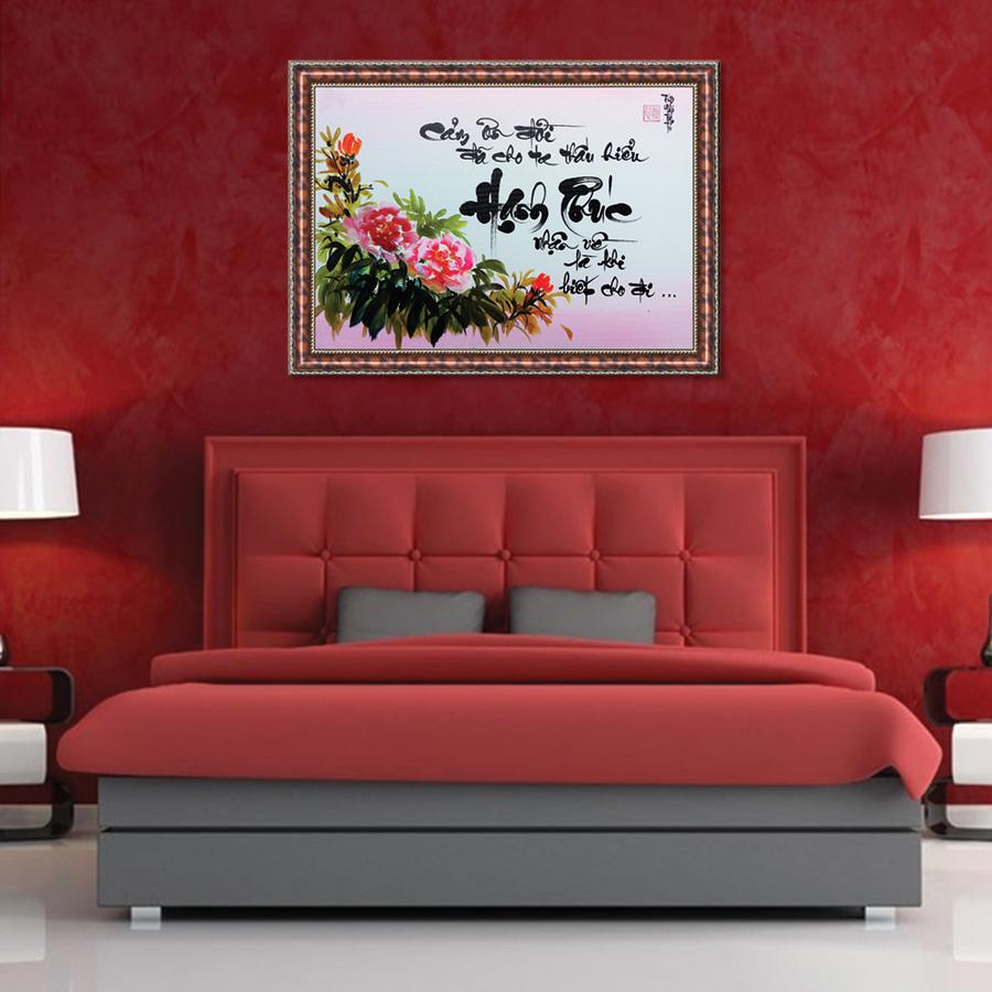 Tranh Thư Pháp HẠNH PHÚC LÀ BIẾT CHO ĐI (TP_41X56_33) (41 x 56 cm) Thế Giới Tranh Đẹp