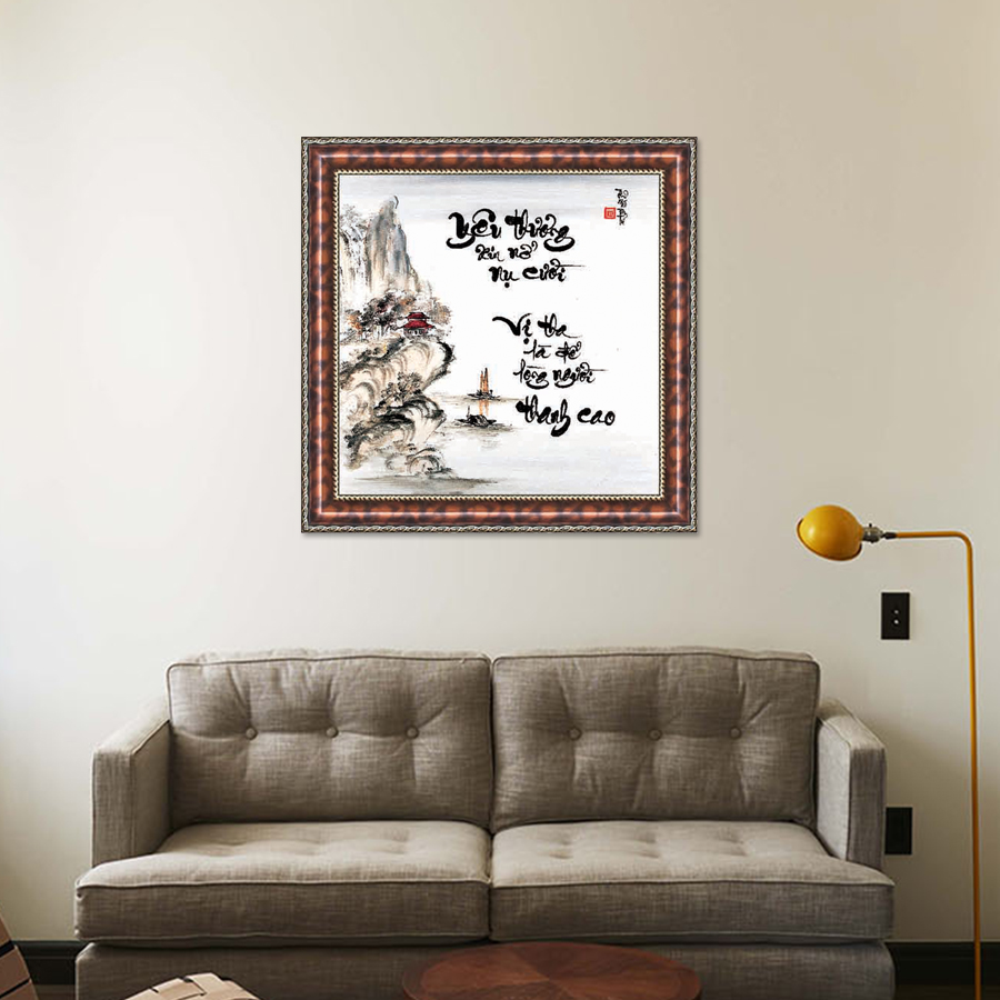 Tranh Thư Pháp MỞ LÒNG YÊU THƯƠNG V44-20 (46 x 46 cm) Thế Giới Tranh Đẹp