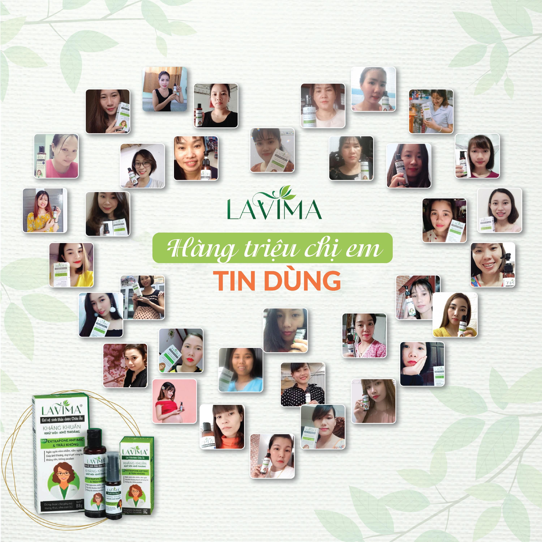 Tuýp gel phụ khoa (rửa phụ khoa, nước phụ khoa) LAVIMA 20g - viêm phụ khoa, nấm, viêm lộ tuyến, 100% thảo dược Châu Âu