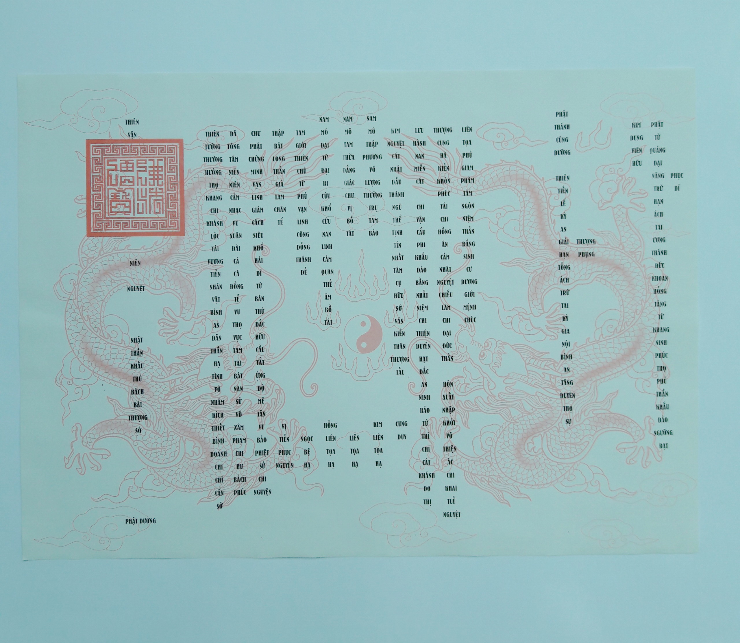 Giấy In Sớ Rồng chầu có ấn RH a3 DL60 nền trắng