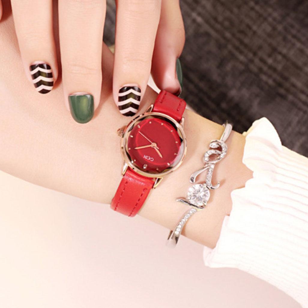 Đồng hồ nữ dây da nhiều màu GEDI thời trang Hàn Quốc - Hàng chính hãng
