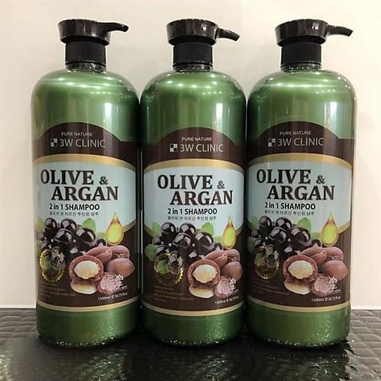 Dầu gội Olive Argan 2 trong 1 3W CLINIC Hàn Quốc 1500ml
