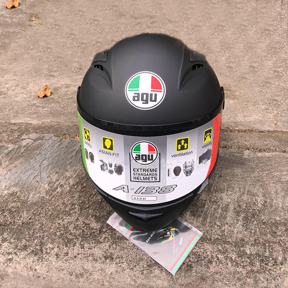 Nón Fullface AGU đen nhám - Tặng túi đựng nón | Mũ Bảo Hiểm Nhựa ABS Độ Bền Cao, Kính Chống Tia UV Tốt