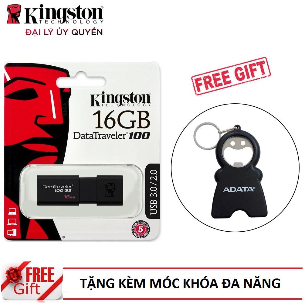 USB Kingston DT100G3 16GB USB 3.0 - Hàng Chính Hãng + Tặng kèm móc khóa đa năng