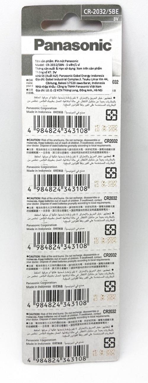Vỉ 5 Viên Pin CR2032 Panasonic ( CR-2032/5BE x 1 Vỉ ) Lithium 3 V