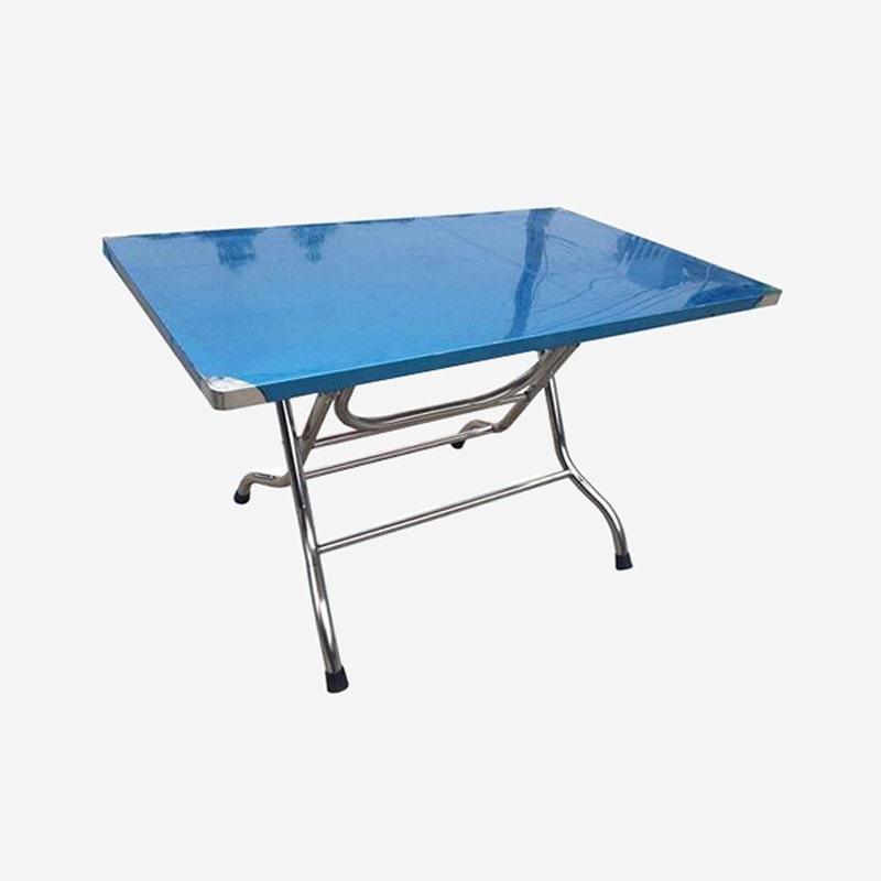 Bộ bàn ghế inox chữ nhật và ghế inox tròn
