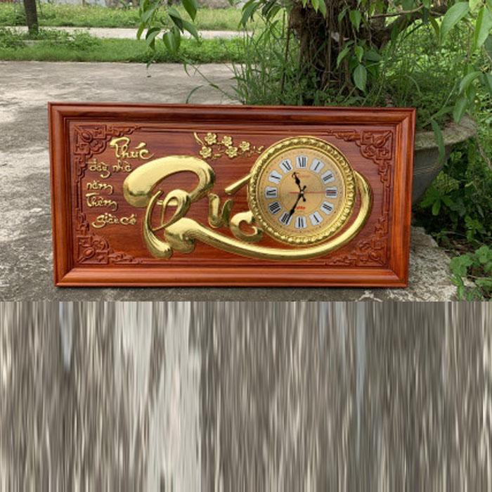 Đồng Hồ Gỗ Treo Tường Chữ Phúc gỗ Hương dán vàng