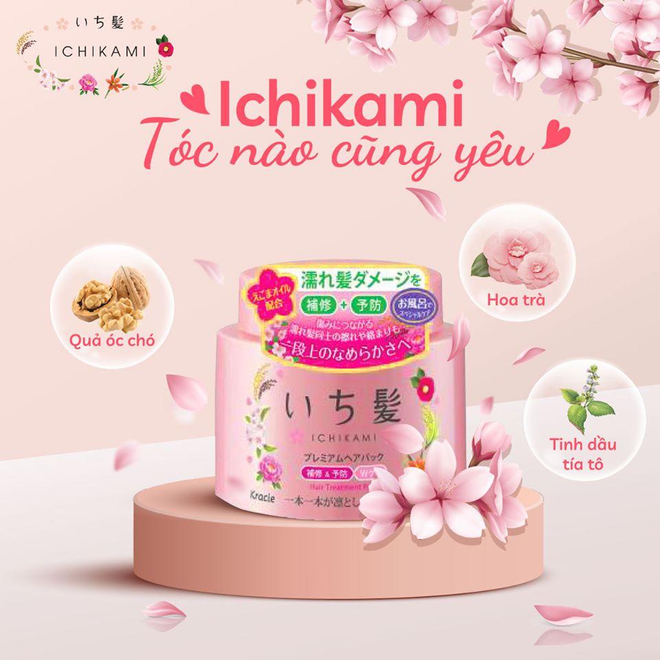 Combo Phục Hồi Tóc Uốn : Kem Ủ Dưỡng Và Phục Hồi Tóc Ichikami 180gr + Sữa Dưỡng Tóc Uốn  Ichikami 150ml Nhật Bản