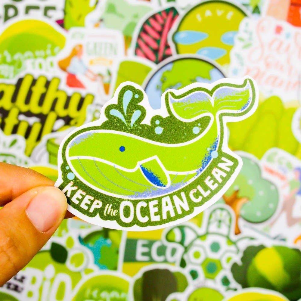 Set 100 sticker hình dán - Green Xanh lá