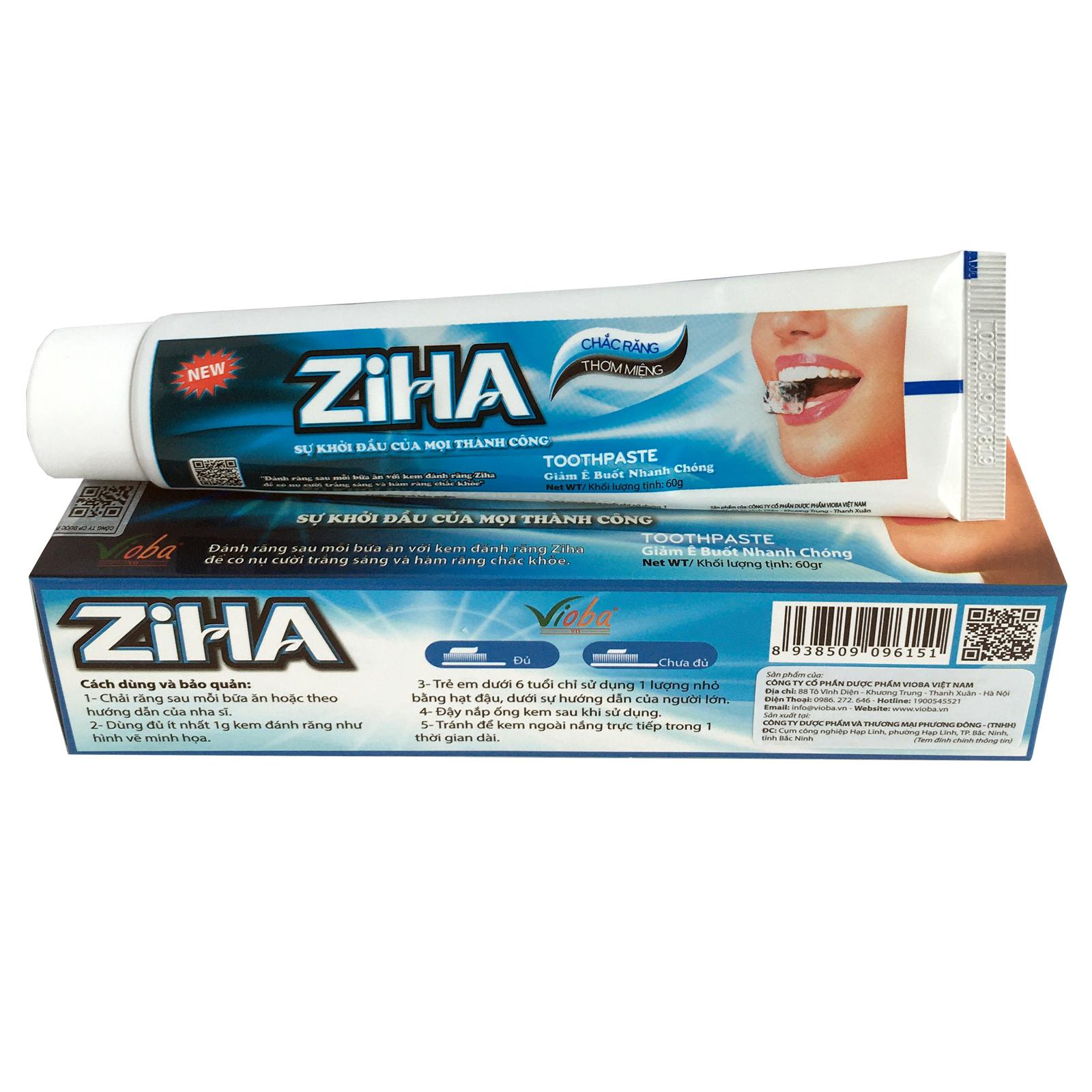[2 hộp]  Kem đánh răng ZIHA - Giảm ê buốt nhanh chóng, giảm nhiệt miệng. Làm sạch, loại bỏ chất bẩn, mảng bám trên răng, giúp răng chắc khỏe, trắng sáng tự nhiên, giữ hơi thở thơm mát. Hộp 60g.