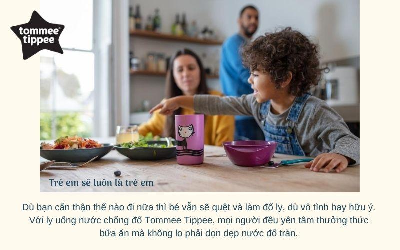 Ly uống nước chống đổ Tommee Tippee No-Knock từ 18 tháng - Tím
