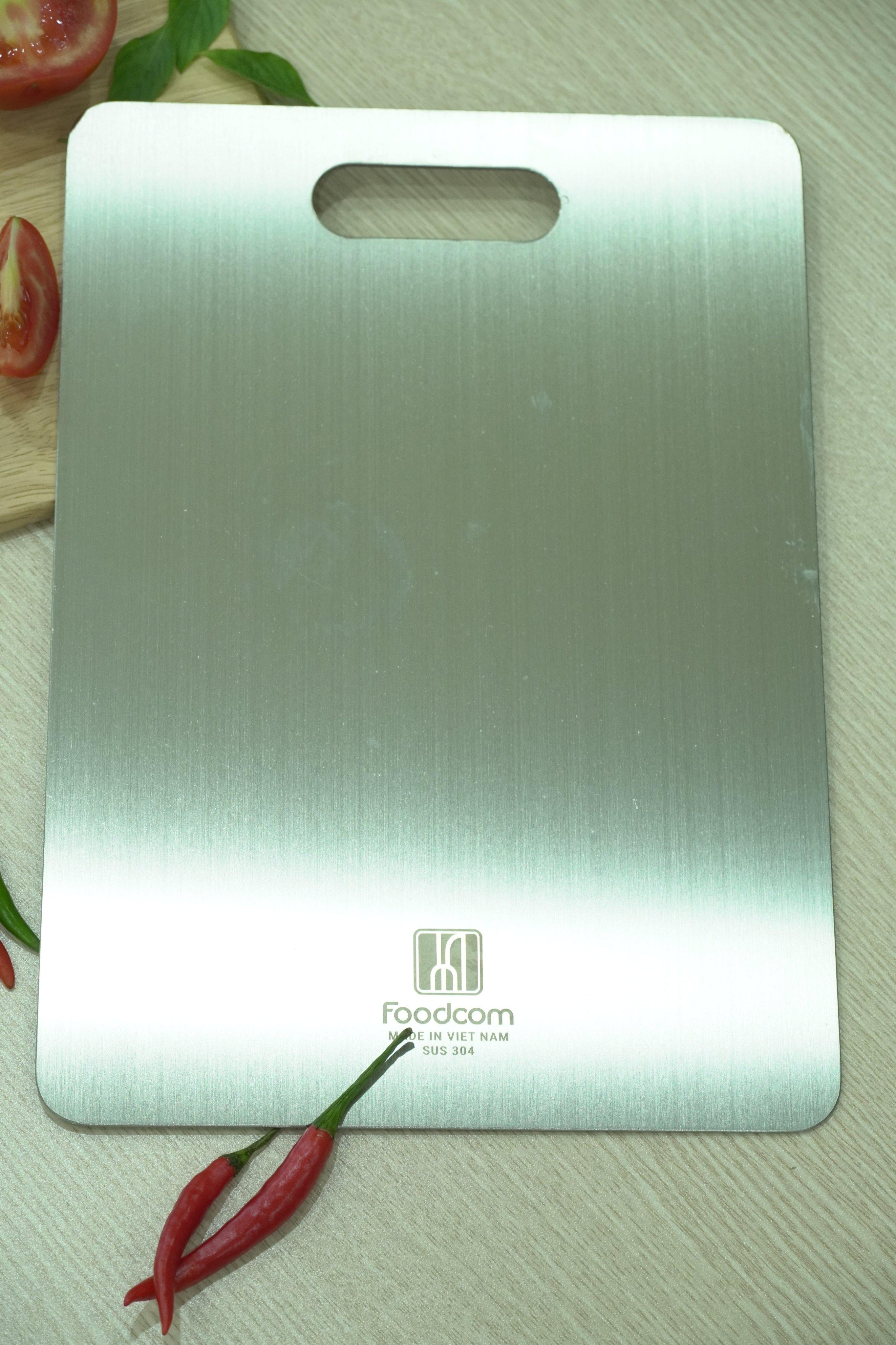 Thớt inox kháng khuẩn cao cấp - inox SuS 304 FC - size 23x33,5cm - dày 2,04mm