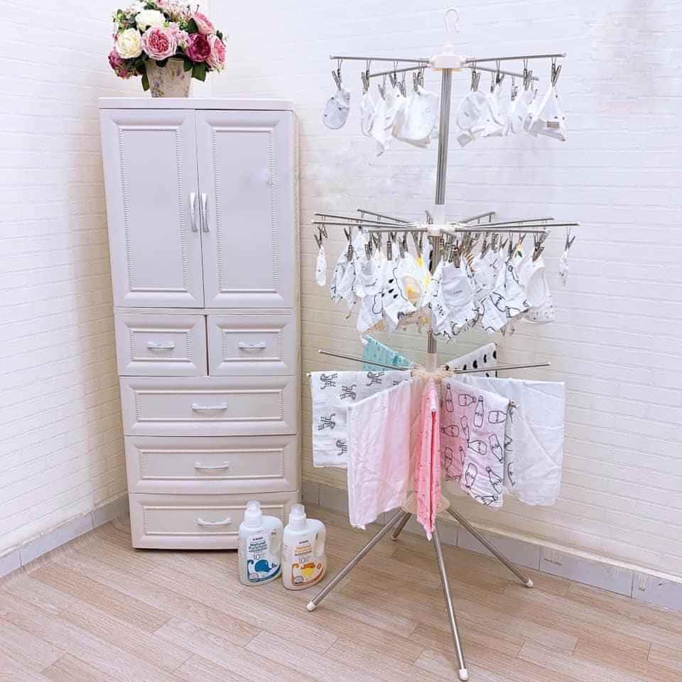 Tủ nhựa đựng quần áo 5 tầng cho bé, có ngăn treo đồ
