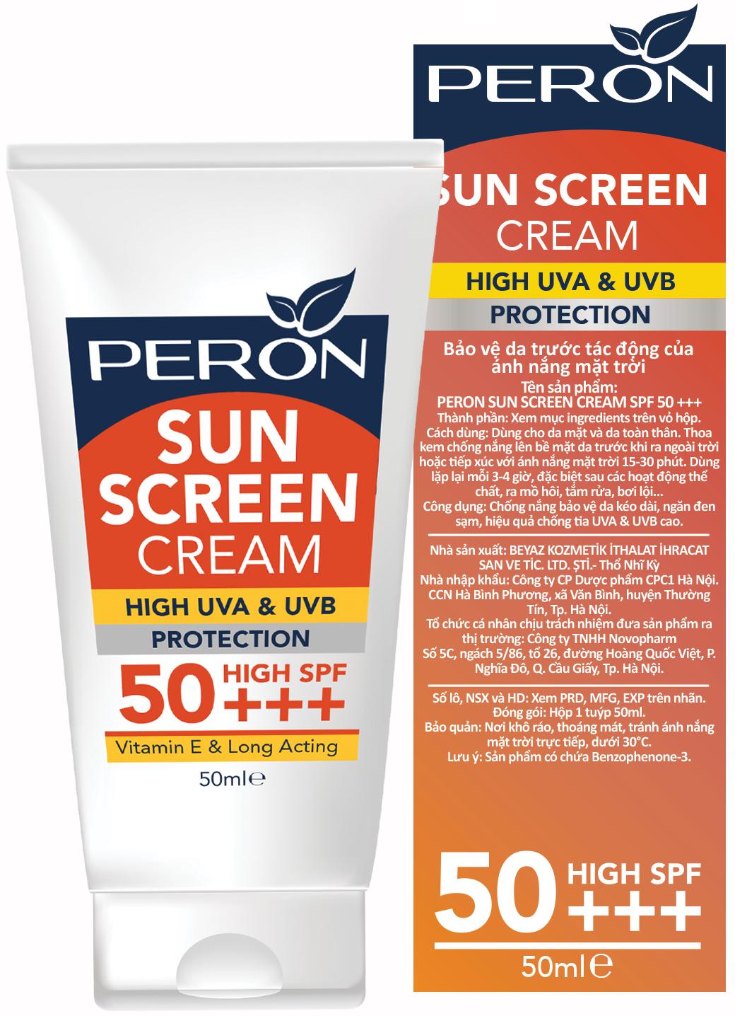 Kem Chống Nắng Dưỡng Da - Peron Sun Screen SPF 50+ - Dành Cho Da Thường Và Da Khô